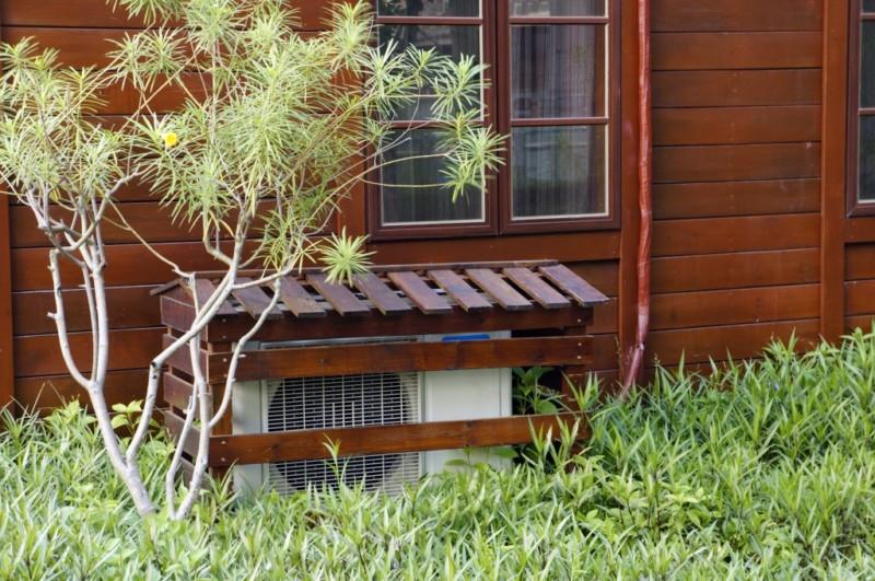 HVAC System in the backyard